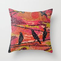 Birds On A Wire - Vintag… Throw Pillow