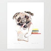 Bookish Bulldog Art Print