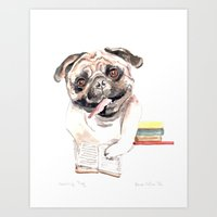 Bookish Bulldog Art Print