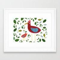 Birds and leaves Framed Art Print