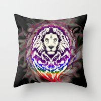 Lion Psychedelic Pop Art Throw Pillow