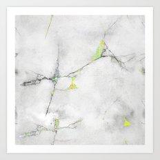 Yellow Cracked Design Art Print
