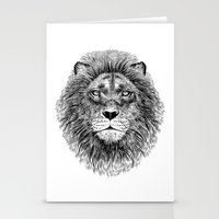 Black+White Lion Stationery Cards