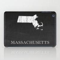 Massachusetts State Map Chalk Drawing iPad Case