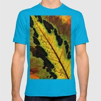 Leaf Veins III Mens Fitted Tee Teal SMALL