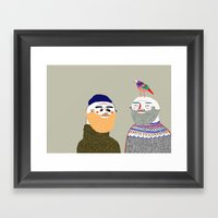 Friends and Bird. People illustration, funny, beard art, beard illustration, people,  Framed Art Print