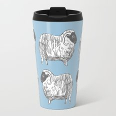 Sheep Powder Blue Pattern Travel Mug