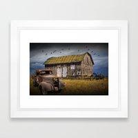 Wooden Barn for Sale along with Old Vintage Truck Framed Art Print