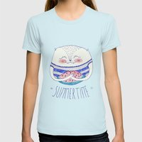 summertime cat Womens Fitted Tee Light Blue SMALL