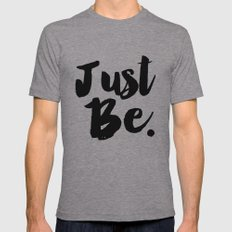Just Be Faux Glitter Typography Mens Fitted Tee Athletic Grey SMALL