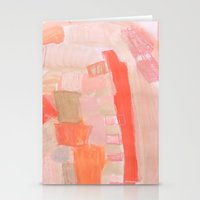 Peach and Feather Stationery Cards