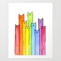 Rainbow Of Cats Art Print