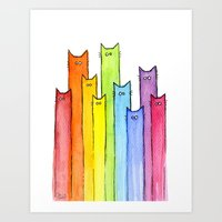 Rainbow of Cats Art Print