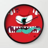 Baddest Red Monster! Wall Clock