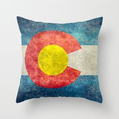 Colorado Flag - Vintage … Throw Pillow