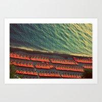 Colorful Beach Umbrellas in Amalfi, Italy Art Print