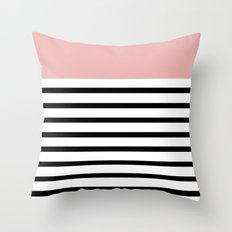 Pinstripe Color Block (Coral) Throw Pillow