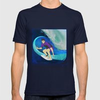 Surfing  Mens Fitted Tee Navy SMALL