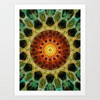 Sun Mandala Mosaic Art Print