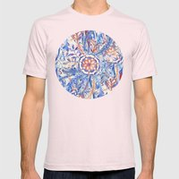 Boho Flower Burst In Red… Mens Fitted Tee Light Pink SMALL