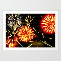 Fireworks on a Highway Art Print