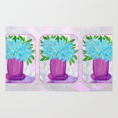 Magenta Vase with Aqua Flowers Rug