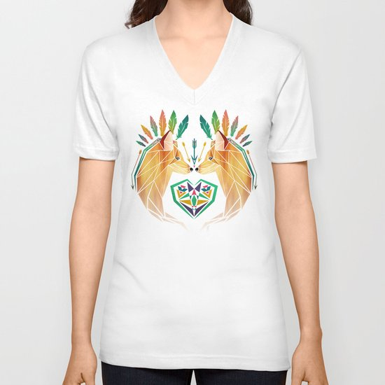 foxes in love V-neck T-shirt