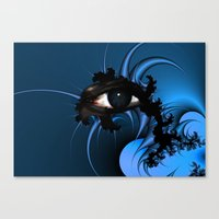 Blue Fractal Eye 2 Canvas Print