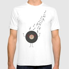 THEODORE THE VINYL Mens Fitted Tee White SMALL