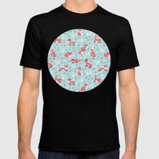 Fox and Bunny Pattern Mens Fitted Tee Black SMALL