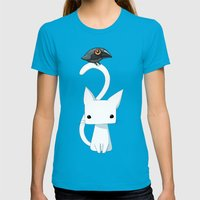 Cat And Raven Womens Fitted Tee Teal SMALL