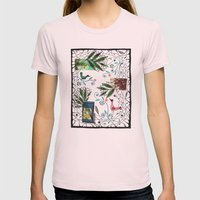 Through The Jungle Web Womens Fitted Tee Light Pink SMALL