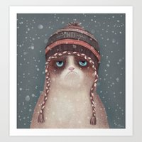 christmas Art Prints featuring Christmas Cat by Lime