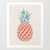 logo Art Prints featuring Pineapple  by basilique