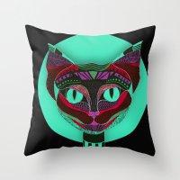 Black CAT- Black Throw Pillow
