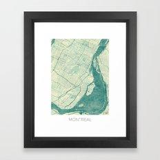 Montreal Map Blue Vintage Framed Art Print