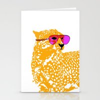 Cheetah with sunglasses on Stationery Cards