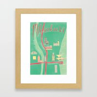 Downtown Milwaukee Map Framed Art Print