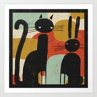 CAT AND BUNNY 2 Art Print