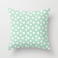Brushy Dots Pattern - Mint  Throw Pillow