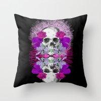 Flowers Skull Throw Pillow