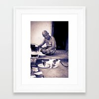 Wat man and his cat Framed Art Print