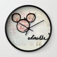 Adorable Mouse Fleur de lis Painting Wall Clock