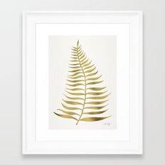 Golden Palm Leaf Framed Art Print