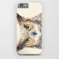 Owl Grey Horned Watercolor iPhone 6 Slim Case