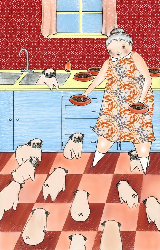 Pug Lady Art Print