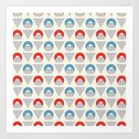 Mt Fuji Dots Art Print