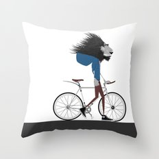 Hipster Lion and his Bicycle Throw Pillow