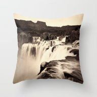 Vintage Waterfall Throw Pillow