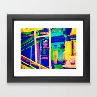 Industrial Abstract Blue Framed Art Print